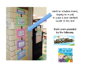 Motivational Door Decor/Classroom Decoration Rainbow Doodle