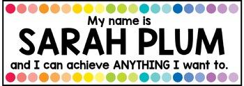 Motivational Editable Desk Tags / Nameplates
