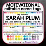Motivational Editable Desk Tags / Nameplates