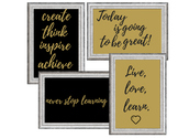 Motivational Gallery: Black and Gold (4 Prints)