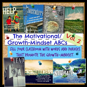 Motivational/Growth-Mindset ABCs Posters for Classrooms or Schools - volume two