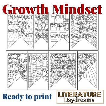 Motivational Growth Mindset Coloring Pennant