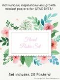 Motivational Growth Mindset Posters for Students Floral Set