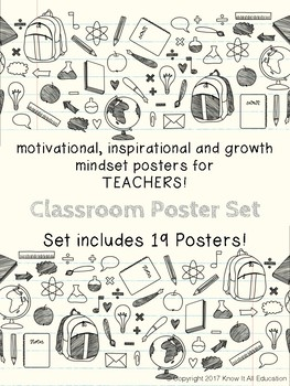 Motivational Growth Mindset Posters for Teachers School Things Theme