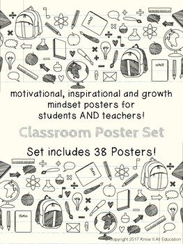 Motivational Growth Mindset Posters for Teachers & Students School Things BUNDLE