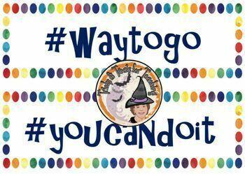 Growth Mindset Motivational Hashtags Colorful Mini Posters Rainbow Dots Border