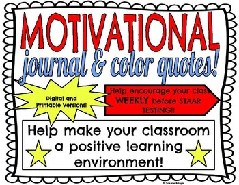 Motivational Journal/Color Quotes: Digital/Printable, Encouragement  b/f STAAR