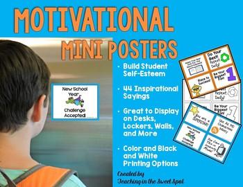 Back to School Motivational Mini Posters to Build Self-Esteem