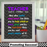End of the Year Teacher Appreciation Gift, Classroom Poster 8x10 or 16x20