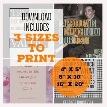 Motivational Poster Bundle - Inspirational - Growth Mindset - 10 Printables