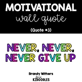 Never, Never, Never Give Up Motivational Quote Letters