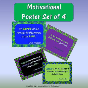 Motivational Poster Set of 4