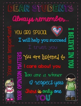 Motivational Poster~Letter to Students