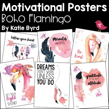 Motivational Posters - Boho Flamingo for Personal Inspiration and Growth Mindset