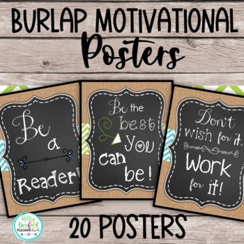 Motivational Posters: Burlap Classroom Decor