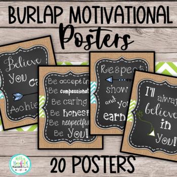 Farmhouse Classroom Decor: Burlap Motivational Posters