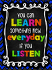 Classroom Rules & Inspiration Posters: Chalkboard and bright colors