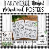 Classroom Decor: Motivational Posters Farmhouse Themed l G