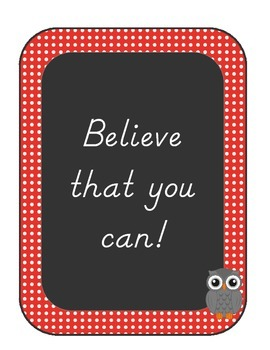 Motivational Posters, Owl and Polka Dots