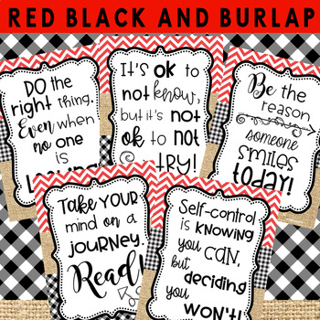 Motivational Posters: Red, Black, and Burlap