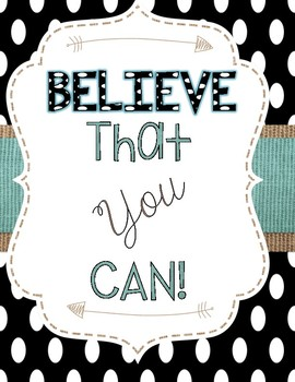 Motivational Posters- Turquoise, Burlap, and Dots