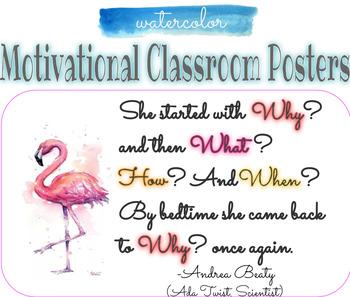 Motivational Posters Watercolor Classroom Decor