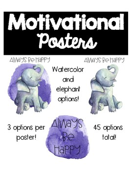 Motivational Posters Watercolor and Elephant Theme
