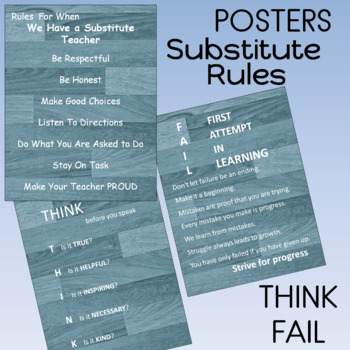 Motivational Posters (3) substitute rules  FAIL THINK