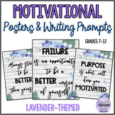 Growth Mindset Posters for Teens {Elegant Floral/Lavender Classroom Decor Set}