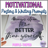 Purple-themed Growth Mindset Posters and Writing Prompts for Teens