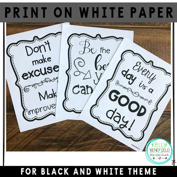 Motivational Posters l Growth Mindset Posters Black and White