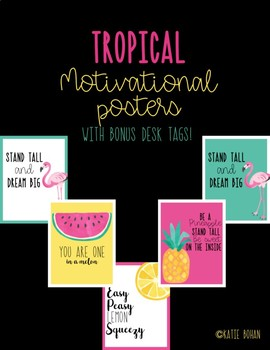 Motivational Posters with BOUNS matching desk tags- Tropical