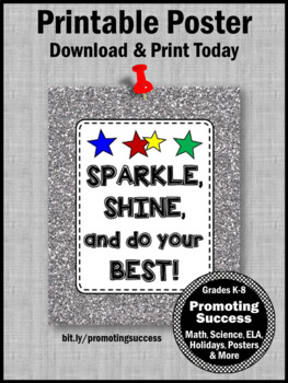 Motivational Quote Poster, Glitter Classroom Decor Do Your BEST