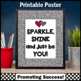 Silver Glitter Just Be You Motivational Quote Poster Teacher Appreciation Week
