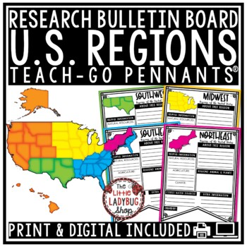U.S. Regions of The United States Regions Research Activity Teach- Go Pennants™