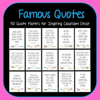 50 MORE Motivational Quote Posters -Set 2 - Boho Arrows Famous Quote Posters