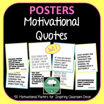 Motivational Quote Posters Black and White x 50