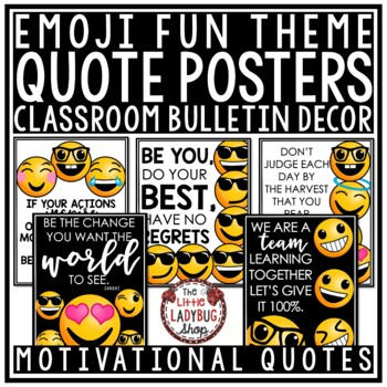 Inspirational Quote Posters - Emoji Back to School Motivational Quotes