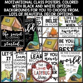Motivational Quote Posters - Camping Theme Classroom Decor