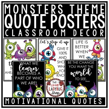 Monsters Theme Classroom Decor- Motivational Posters & Growth Mindset Posters