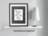 Motivational Quote Poster, Black and White Classroom Decor, Stars Theme