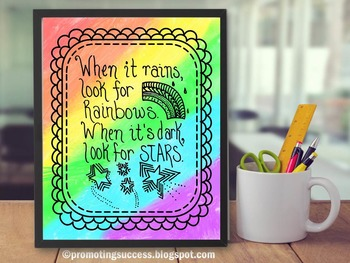 Rainbow and Stars Quote & Doodles Poster Handwritten Classroom Decor