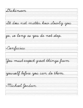 Motivational Quotes Cursive Practice