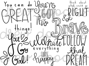 Motivational Quotes Digital Clip Art Set- Black Line Version