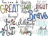 Motivational Quotes Digital Clip Art Set- Color and Black Line COMBO