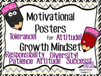 Motivational Quotes Posters for Growth Mindset Activities Bundle