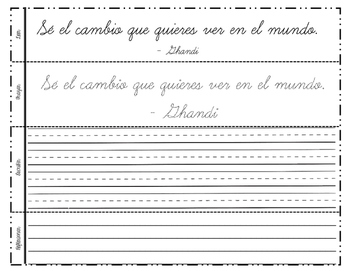Motivational Quotes in Spanish - Cursive Practice