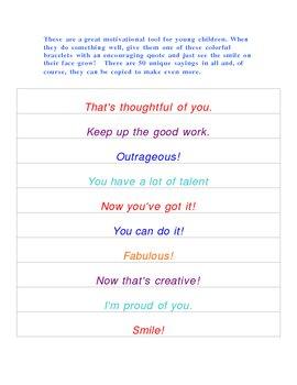 Motivational Reward Bracelets - 50 - Words of Encouragement!