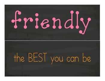 Motivational Self-Esteem Building Door & Bulletin Board - Chalk Board & Pastel