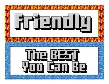 Motivational Self-Esteem Building Door & Bulletin Board - Minecraft Themed